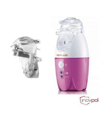Inhalator siatkowy NEPLUS(NE-SM1) - różowy +Pojemnik nebulizacyjny NEPLUS(NE-SM1)